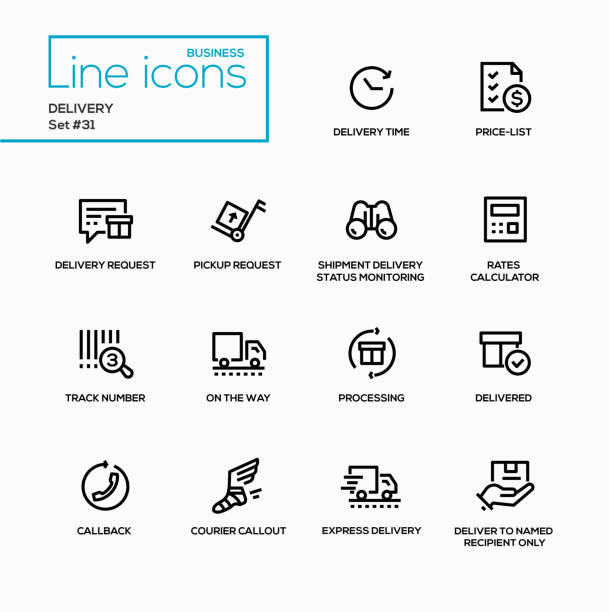 stockillustraties, clipart, cartoons en iconen met levering - moderne vector enkellijns pictogrammen instellen - gemak