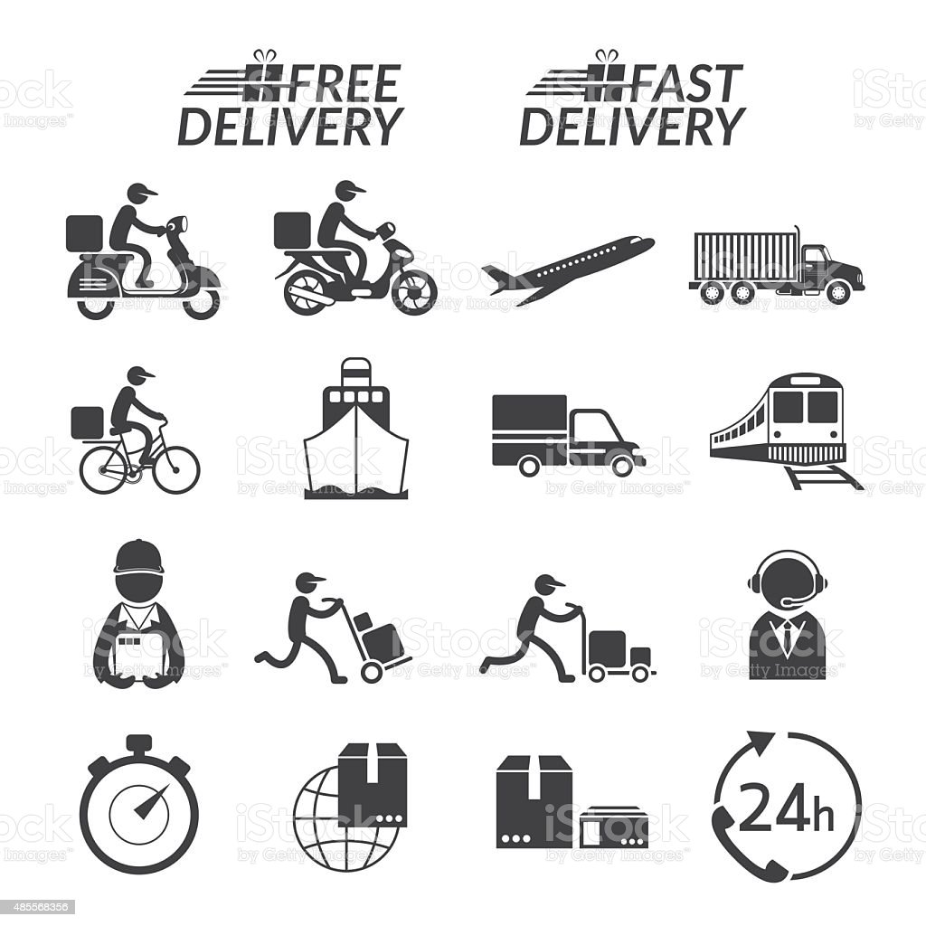 Delivery Monochrome Icons Set vector art illustration