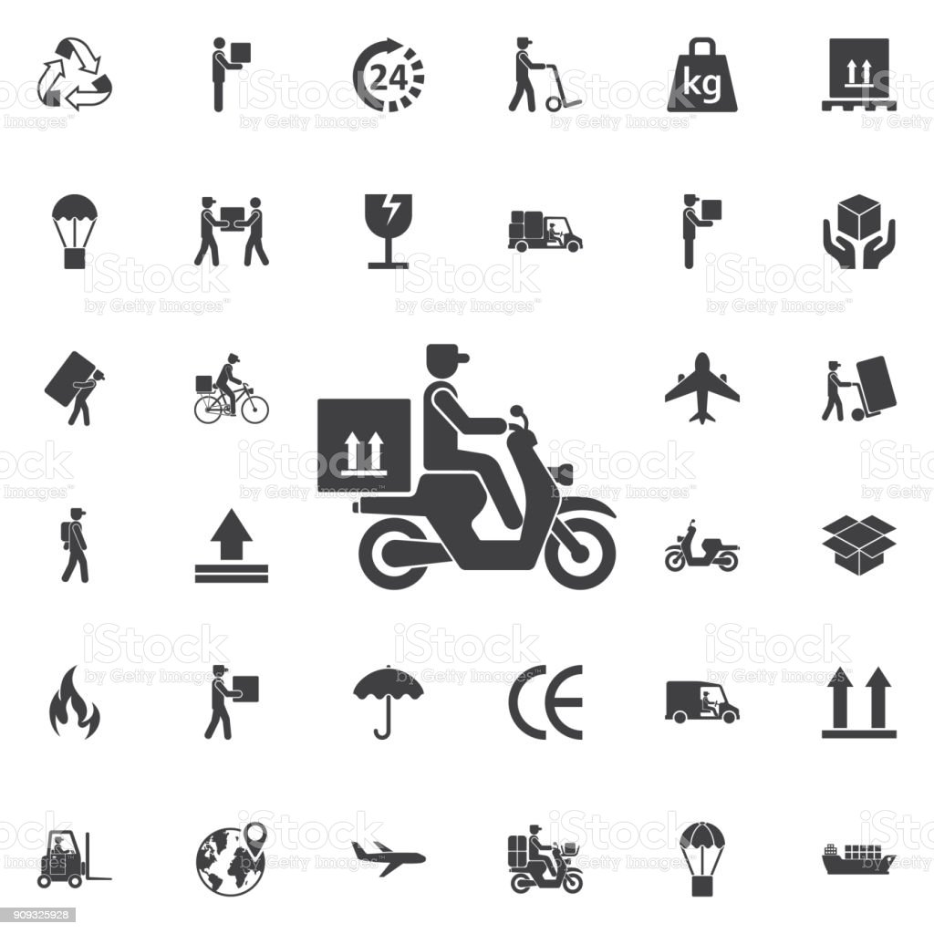 delivery moped icon vector art illustration