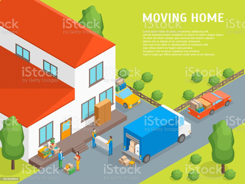 Delivery Moving Card Poster Concept 3d Isometric View. Vector vector art illustration