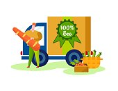 Delivery of Eco Production from Farm to Customer on Lorry Truck. Man Holding Huge Carrot in Hands, Vegetables in Basket, Organic Food Healthy Ecological Nutrition, Cartoon Flat Vector Illustration