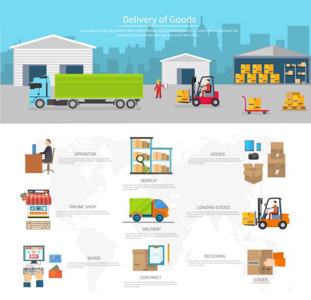 La livraison de marchandises logistique et moyens de transport - Illustration vectorielle