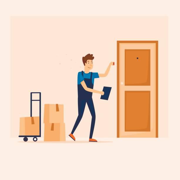 Lieferung von waren, Pakete. Flaches Design-Vektor-Illustration. – Vektorgrafik