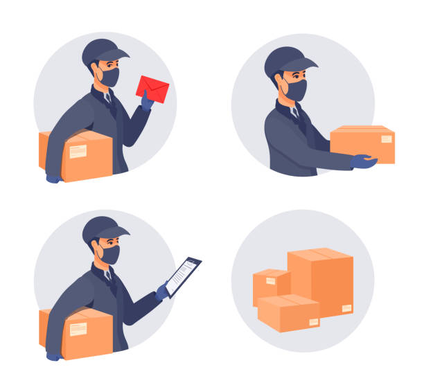 Delivery of packages during the epidemic. Boy worker in a cap, an uniform, medical gloves, mask covered face. Sickness prevention. Vector cartoon illustration. passing giving stock illustrations