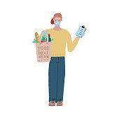 Delivery of the product during coronavirus quarantine. Food delivery. Men courier in mask and gloves carrie a paper bag from a supermarket with groceries. Vector flat illustration