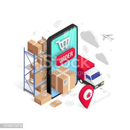 istock Delivery online isometric concept phone isolated 1270372073