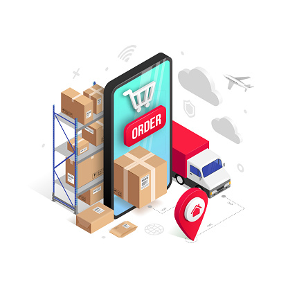 Delivery online isometric design concept with smartphone, parcel box, truck, pin, storage shelves isolated on white. Logistic order delivery service 3d vector illustration for web, mobile app, advert