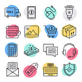 Modern delivery and pickup of retail goods doodle style concept outline symbols. Line vector icon sets for infographics and web designs.
