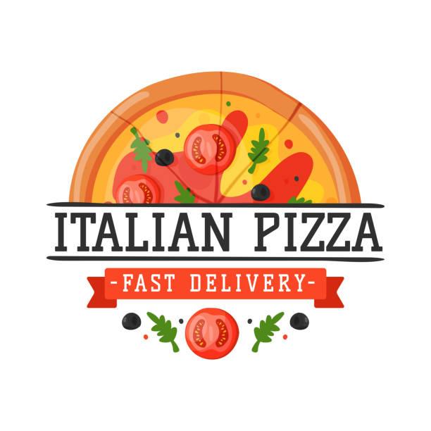 lieferung-pizza-abzeichen-vektor-illustration - pizzeria stock-grafiken, -clipart, -cartoons und -symbole