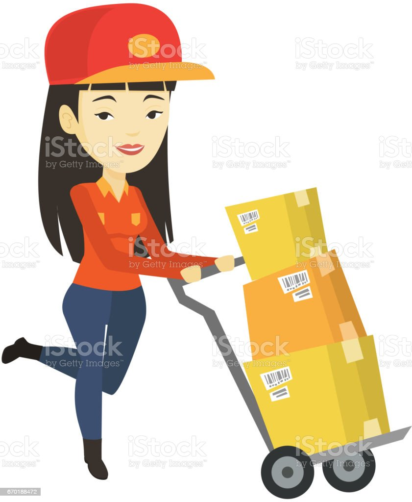 Delivery Postman With Cardboard Boxes On Trolley stock vector art ...