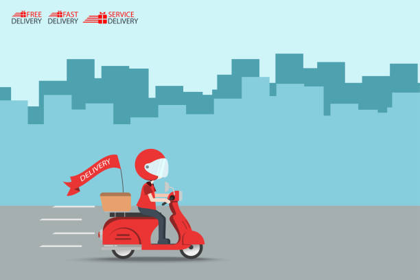 Delivery Ride Motorcycle Service, Order Worldwide Shipping, Fast and Free Transport, food express, vector illustration cartoon vector art illustration