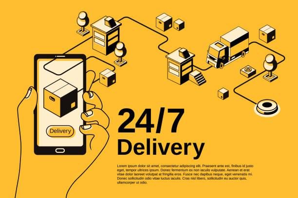 Delivery service 24 7 vector halftone illustration vector art illustration