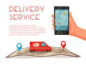Delivery service by van. Car for parcel delivery. Cartoon vector illustration. Fast delivery truck or lorry. Car on the map