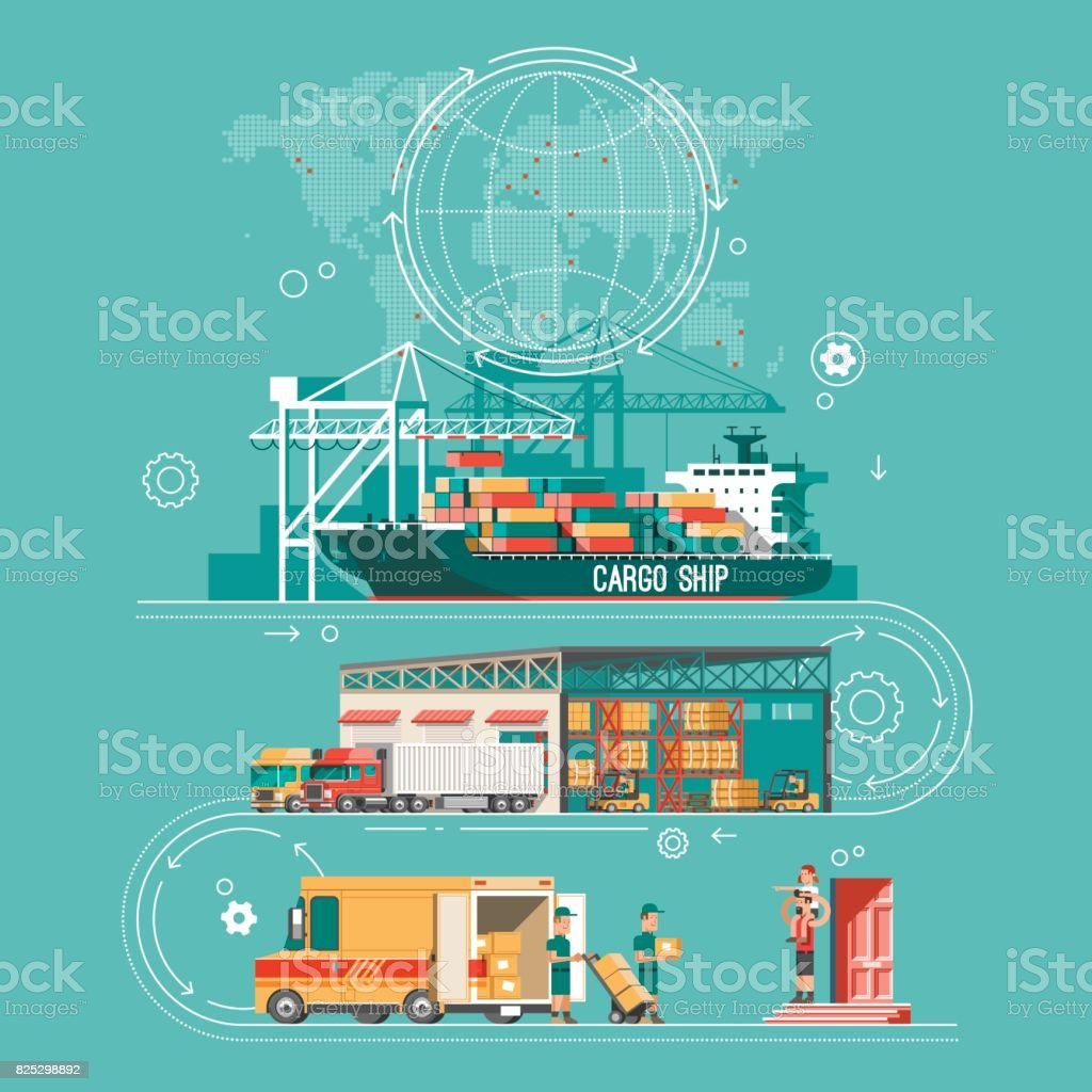 Delivery service concept. Container cargo ship loading, truck loader, warehouse, van. Flat style vector illustration. vector art illustration