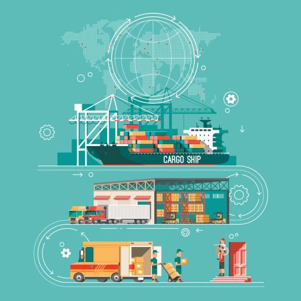 stockillustraties, clipart, cartoons en iconen met levering dienstverleningsconcept. container vrachtschepen laden, vrachtwagen lader, magazijn, van. vlakke stijl vectorillustratie. - vrachtcontainer