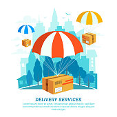 Delivery service concept. Flat design, packages with parachutes on Urban landscape in flat style. Fast Delivery Service, Fast shipping web banners template. Blue city silhouette background. Vector
