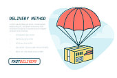 Delivery service concept. Flat outline design colored vector illustration of package with parachute. Fast Delivery Service, Parcels Delivery, Free shipping web banners template. Vector illustration