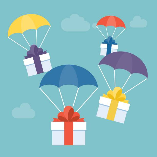 delivery service concept, gift box with colorful parachute suitable for Christmas or new year – artystyczna grafika wektorowa