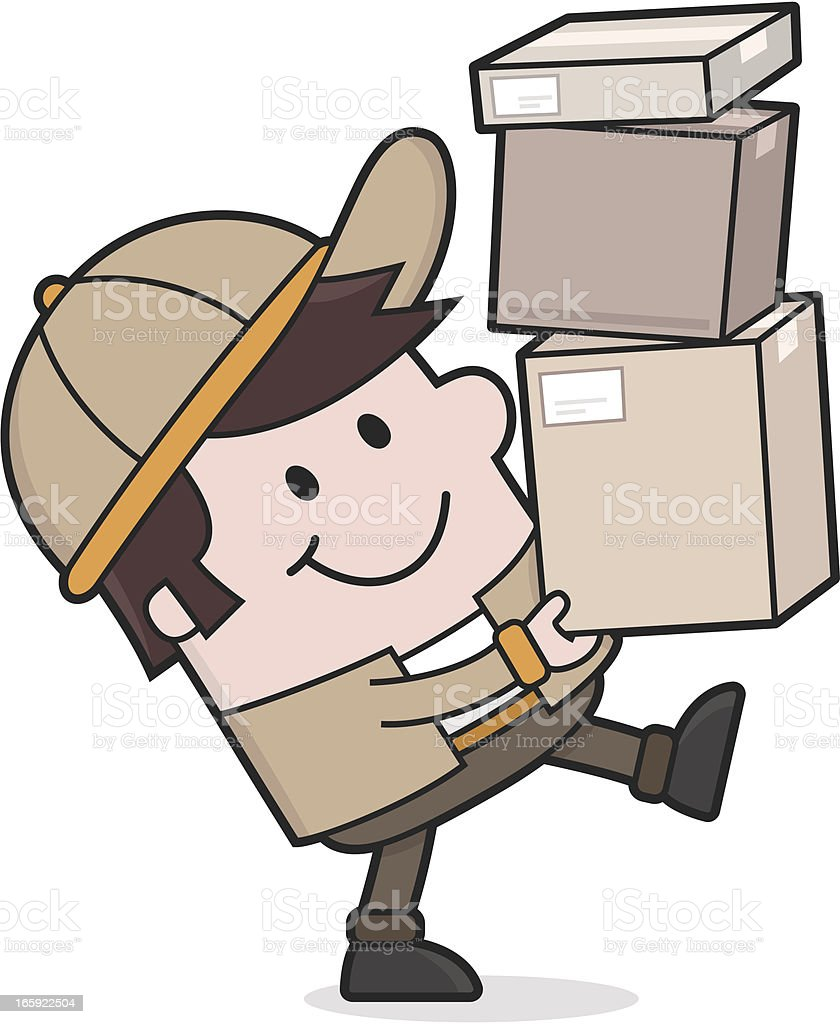 Delivery Service / Deliveryman brings packages royalty-free stock vector art