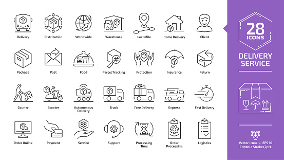 Delivery service editable stroke outline icon set with fast express package shipping, quick courier, cargo truck and van speed transport, parcel warehouse and food export silhouette line sign.