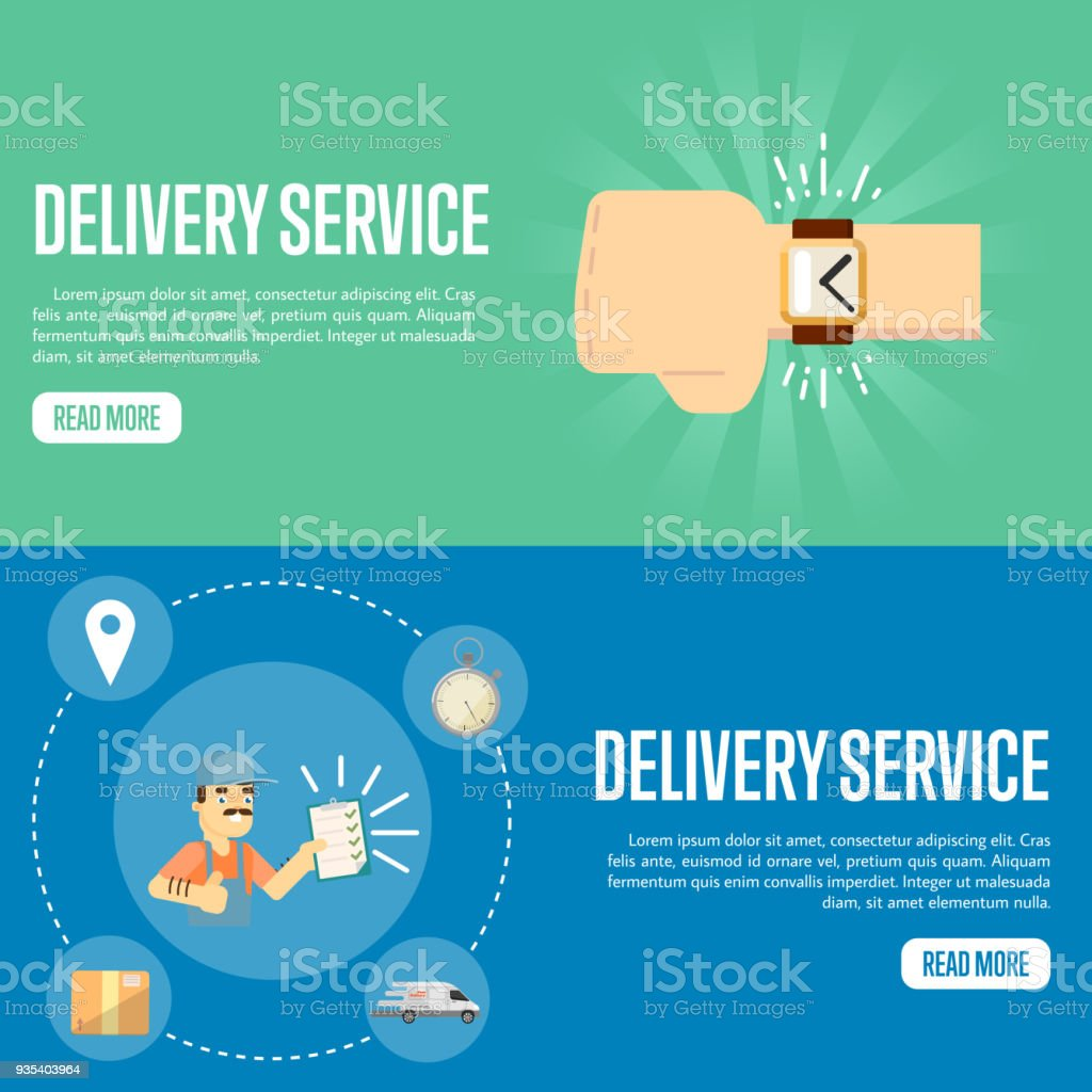 Delivery Service Horizontal Website Templates Stock Vector Art ...