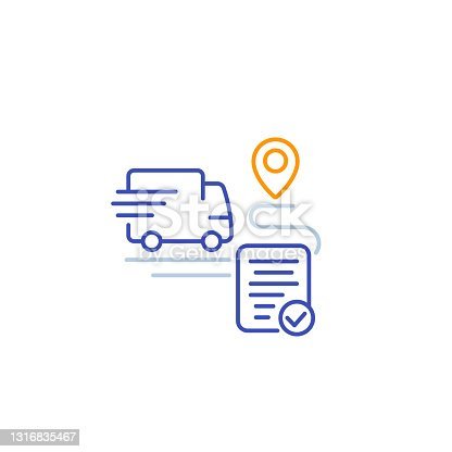 istock delivery service icon, transport van and destination point, linear vector 1316835467