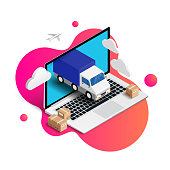 Express Delivery online isometric design with laptop, truck, plane, boxes on fluid gradient background. 3d logistic online shopping advert concept. For web, banner, ui, mobile app. Vector illustration