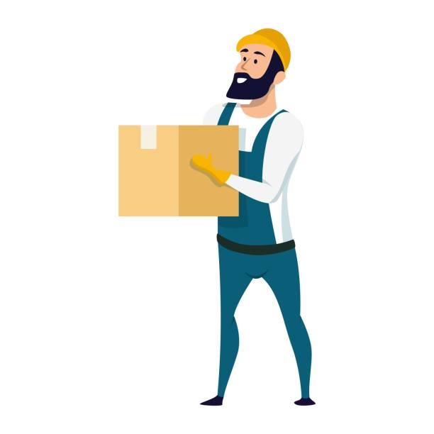 stockillustraties, clipart, cartoons en iconen met levering service mannelijke karakter houden kartonnen doos - warenhuismedewerker