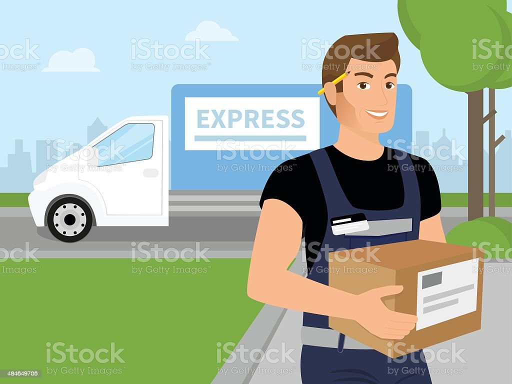 Delivery service man with a box in his hands vector art illustration