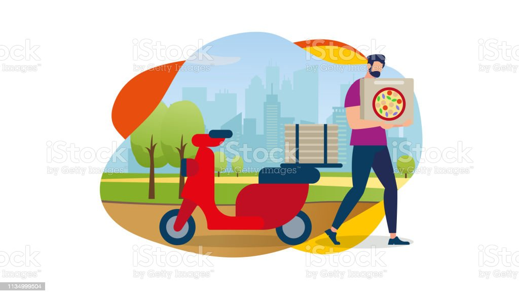 Delivery Service Order Shipping. Cartoon Man Character Carry Pizza...