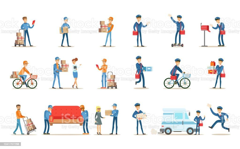Lieferung Service Set, Kuriere liefern Pakete, Briefe, Möbel für Kunden Vektor Illustrationen auf weißem Hintergrund – Vektorgrafik