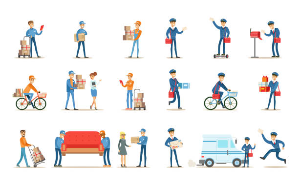 delivery service set, couriers delivering packages, letters, furniture to clients vector illustrations on a white background - postal worker stock illustrations