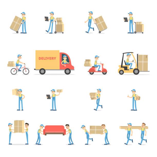illustrazioni stock, clip art, cartoni animati e icone di tendenza di delivery service set. - portare