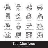 Delivery service, shipping, retail, online shopping, e commerce thin line icons for web and mobile app. Editable stroke. Vector set include icons as contactless delivery, courier, grocery shop pickup, online food ordering etc