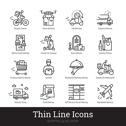 Delivery Service, Shipping, Retail, Online Shopping, E commerce Linear Icons Collection Isolated On White Background. Editable Strokes.