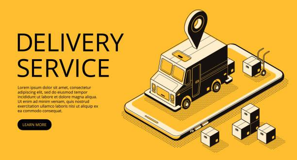 Delivery service vector halftone illustration vector art illustration