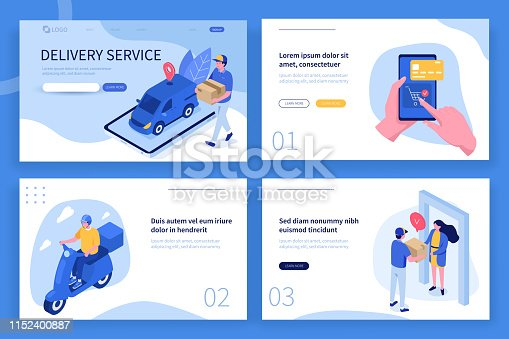 Delivery service landing page template. Can use for web banner, infographics, hero images. Flat isometric modern vector illustration.