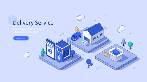 ilustrações, clipart, desenhos animados e ícones de serviço de entrega - mobile