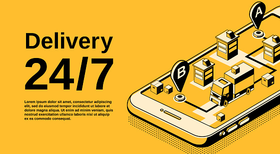 Delivery service vector isometric illustration