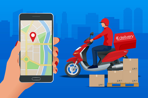 Food delivery stock illustrations