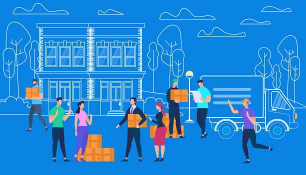 ilustrações, clipart, desenhos animados e ícones de os trabalhadores do serviço de entrega trazem caixas pelo carro de van. - costumer