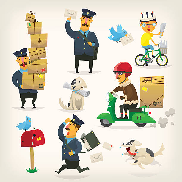 delivery service workers - postal worker 幅插畫檔、美工圖案、卡通及圖標