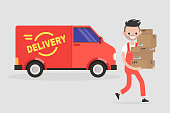 Delivery service. Young smiling courier holding a pile of parcels. Transportation. Flat vector illustration, clip art