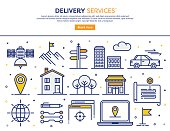 Line vector illustration of delivery services. Banner/Header Icons.