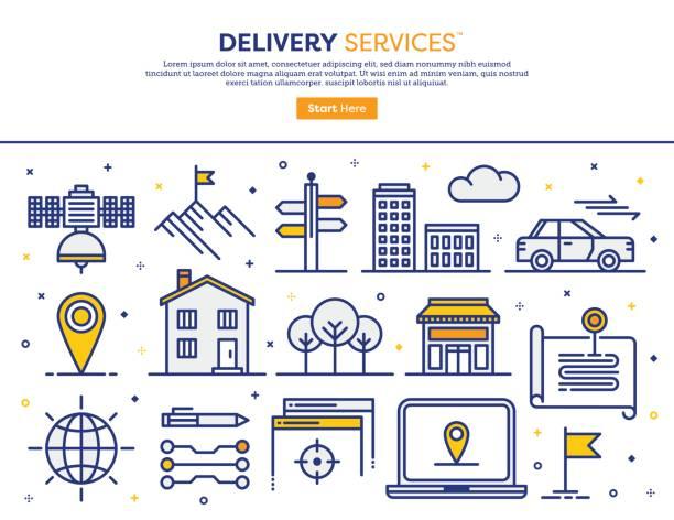 ilustraciones, imágenes clip art, dibujos animados e iconos de stock de concepto de servicios de entrega - nueva casa
