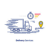 Line vector illustration of delivery services.