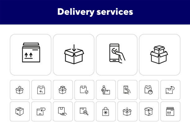 lieferservice-zeilensymbol gesetzt - bestellen stock-grafiken, -clipart, -cartoons und -symbole