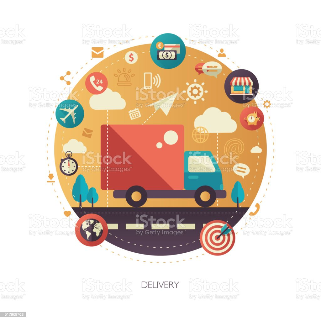 Delivery services modern flat design business infographics illustration vector art illustration