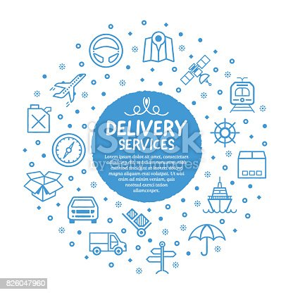 Vector line illustration of delivery services.