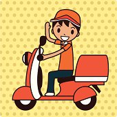 Vector illustration of a delivery boy on a Vespa(motorcycle).